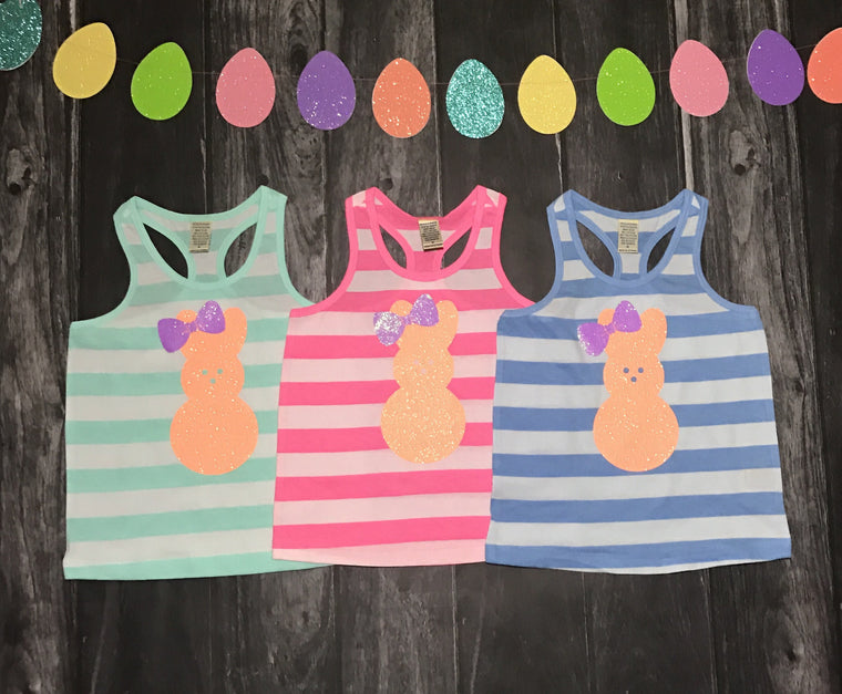 Easter bunny striped tank for toddlers and girls