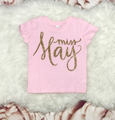 TODDLER 2T Pink Short Sleeve t shirt- Gold Sparkle Miss May