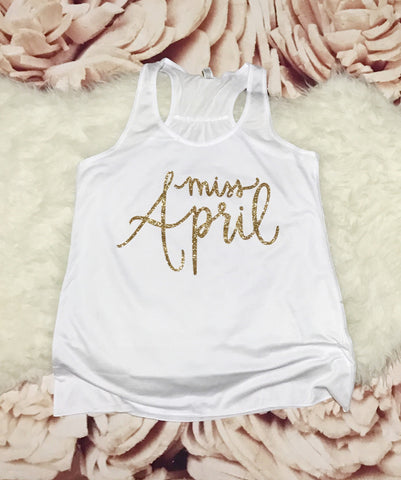 Womens Size LARGE White Tank Top - Gold Sparkle MISS APRIL