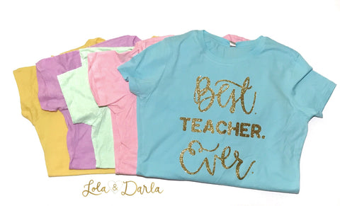 Best Teacher Ever Womens Sparkle T Shirt