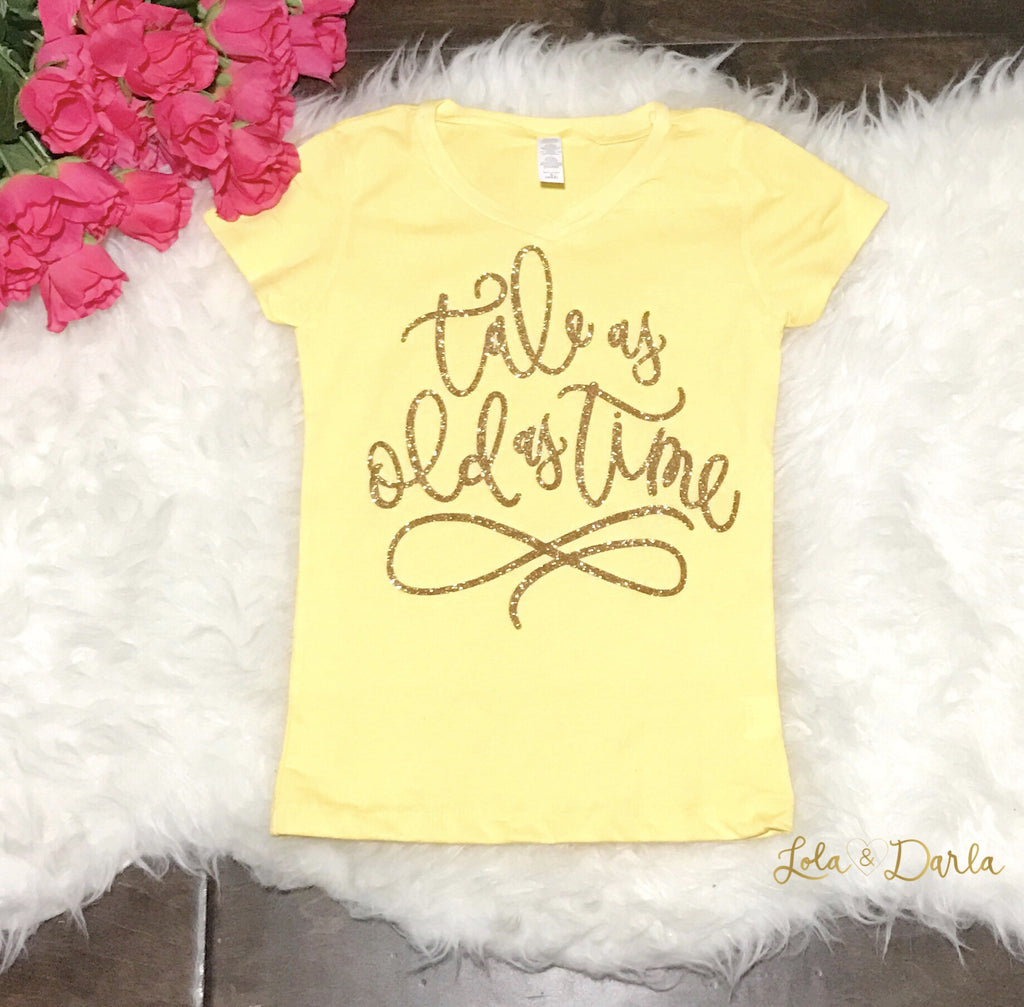 Tale as old as time Girls Sparkle T Shirt in gold sparkle