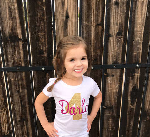 Birthday Girl Name and Age Sparkle T Shirt