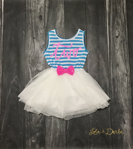 Birthday Sparkling Stripe tutu dress - Blue