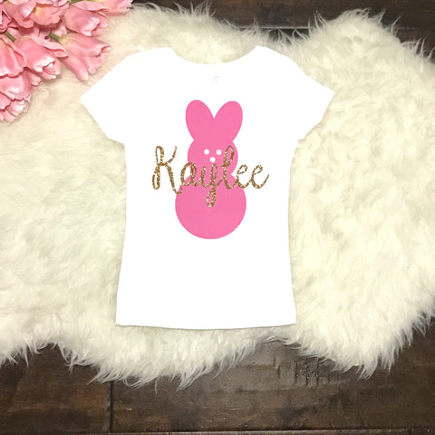 Custom Name Bunny Easter Toddler and Girls Sparkle T Shirt