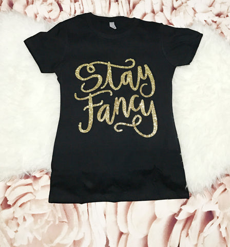 Womens MEDIUM Black short sleeve t shirt - Gold Sparkle STAY FANCY