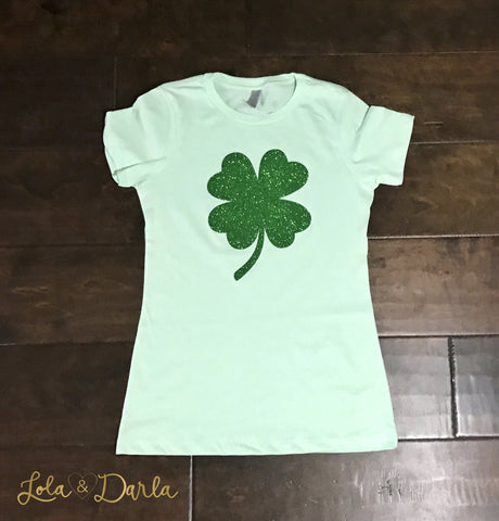 Shamrock St. Patrick's Day Womens Sparkle T Shirt