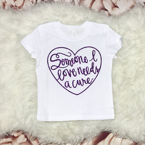 TODDLER 3T White Short Sleeve t shirt- Purple Sparkle SOMEONE I LOVE CURE