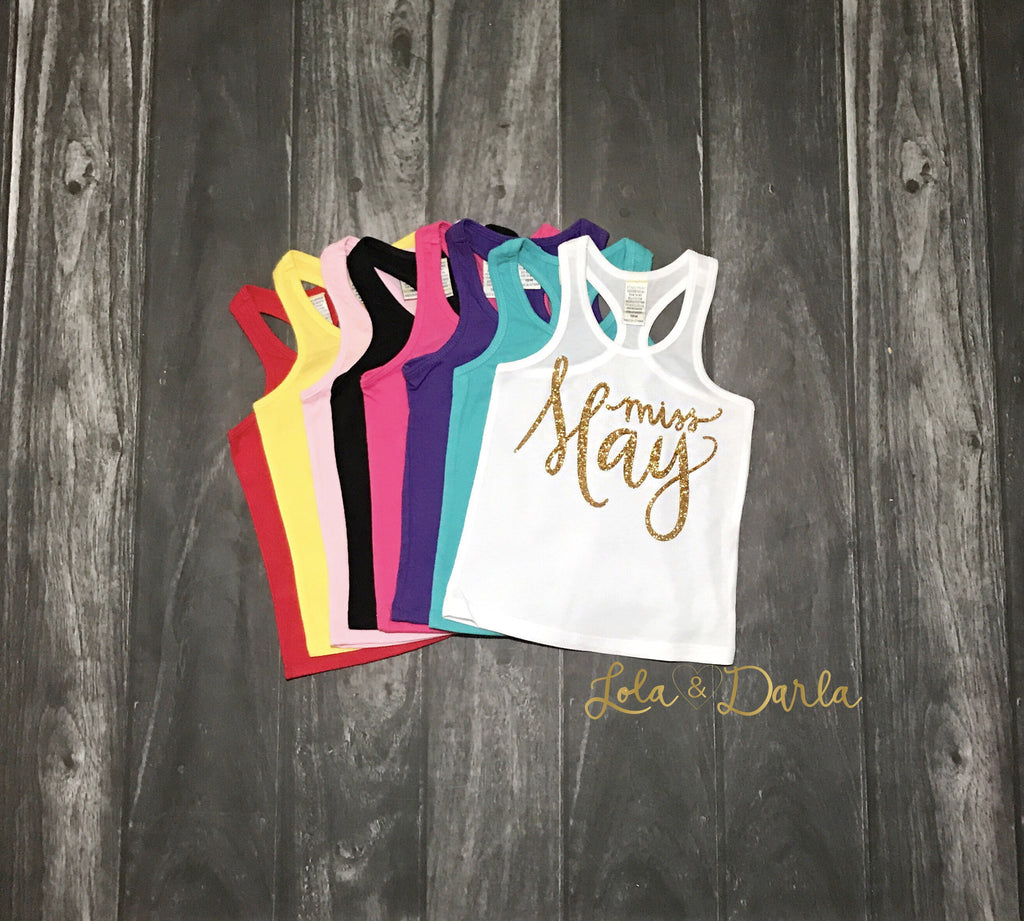 Miss May Birthday tank top in gold sparkle