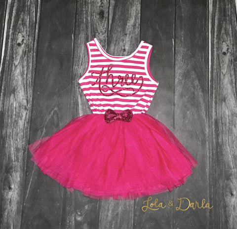 Birthday Sparkling Stripe tutu dress - BRIGHT Pink