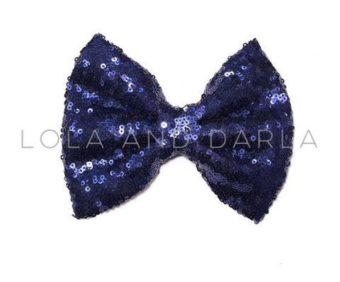 Sparkle Darling Sequin Bow Clip in BRIGHT NAVY