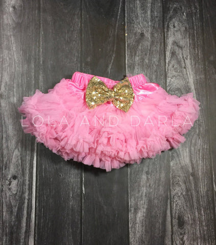 The Sparkle Babe sequin bow tutu petti skirt in PINK
