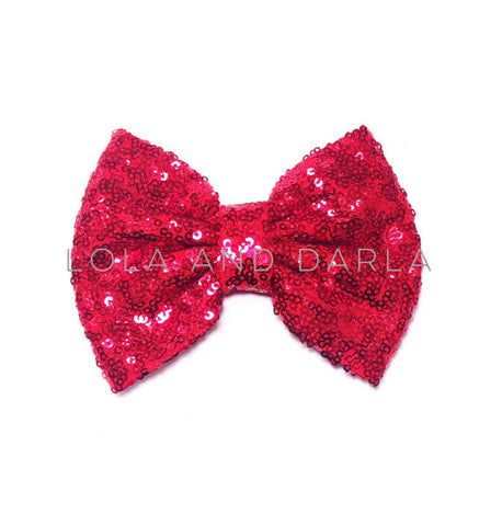 Sparkle Darling Sequin Bow Clip in RED