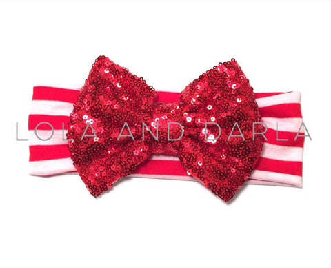 Sparkle Babe striped Headband with Sequin Bow - RED