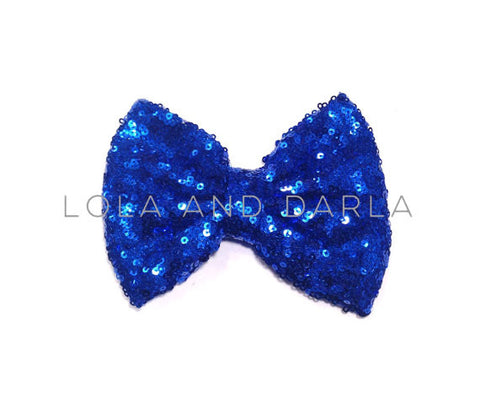 Sparkle Darling Sequin Bow Clip in ROYAL BLUE