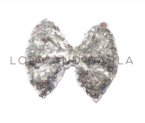 Sparkle Darling Sequin Bow Clip in PLATINUM SILVER