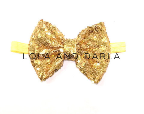 Sparkle Babe elastic Headband with Sequin Bow - VEGAS GOLD