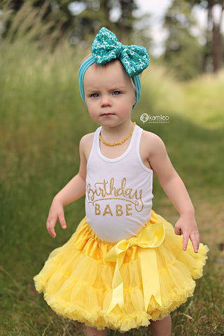 The Sparkle Babe sequin bow tutu petti skirt in YELLOW
