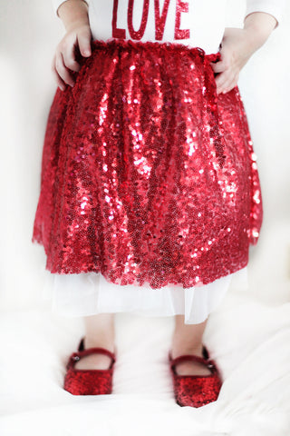 Sparkle Darling™ Red Holiday Sequin Sparkle Skirt