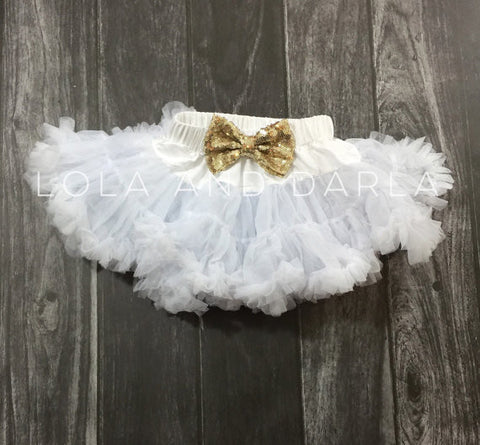 The Sparkle Babe sequin bow tutu petti skirt in WHITE
