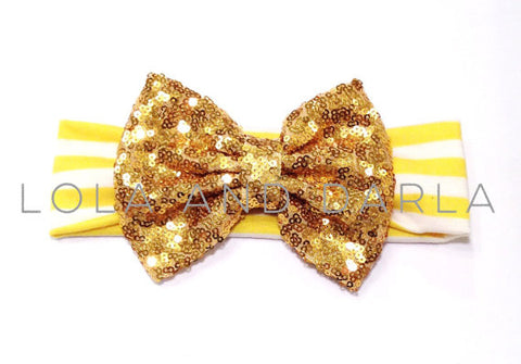 Sparkle Babe striped Headband with Sequin Bow - YELLOW