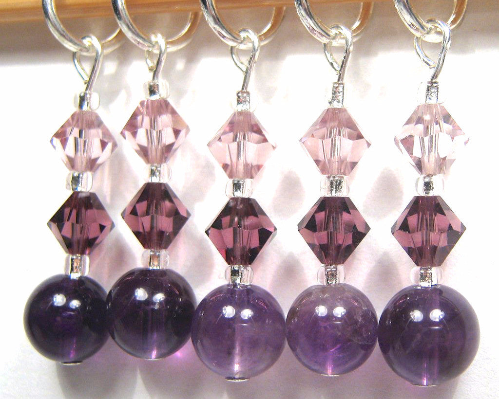 Healing Gemstone Stitch Marker Set - Amethyst