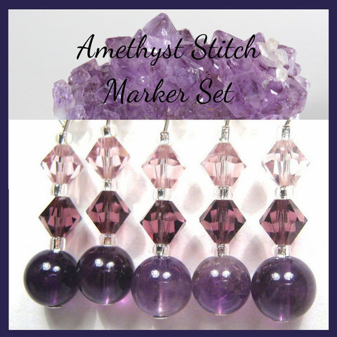 Healing Gemstone Stitch Marker Set - Amethyst - Customizable for Knitting or Crochet