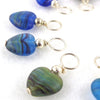 Blue Heart Droplet Stitch Markers for Knitting or Crochet