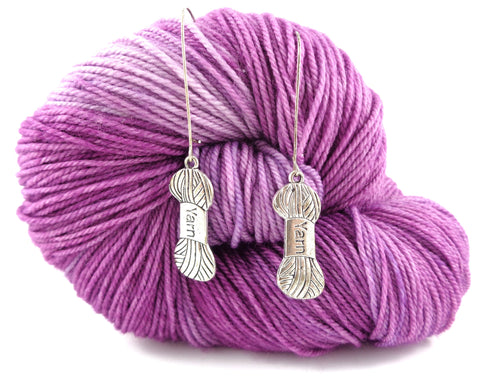 Minimalist Silver Earrings with Yarn Charm