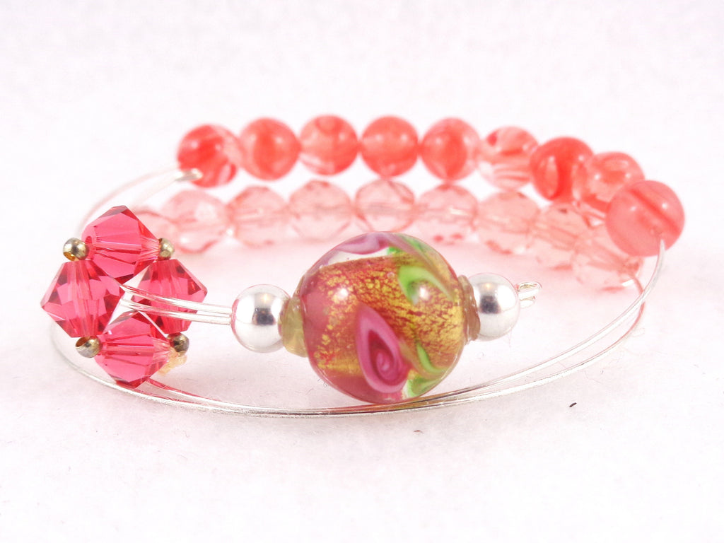 Row Counter Bracelet Abacus for Knitting or Crochet, Count up to 100, Slip On, Clasp Free, Golden Rose