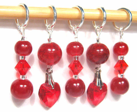 Crystal Heart Stitch Marker Set