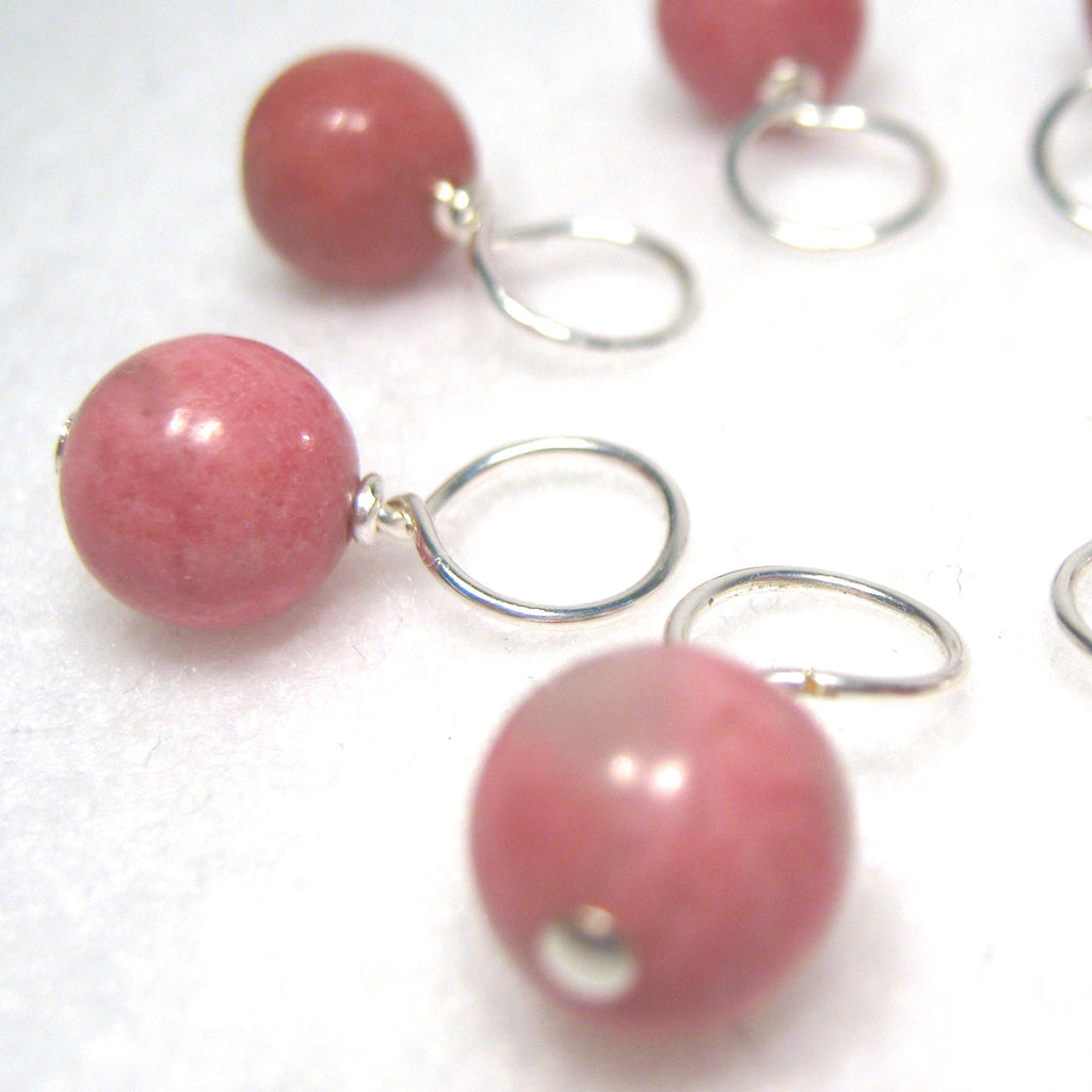 Healing Gemstone Stitch Marker Drops - Rhodonite