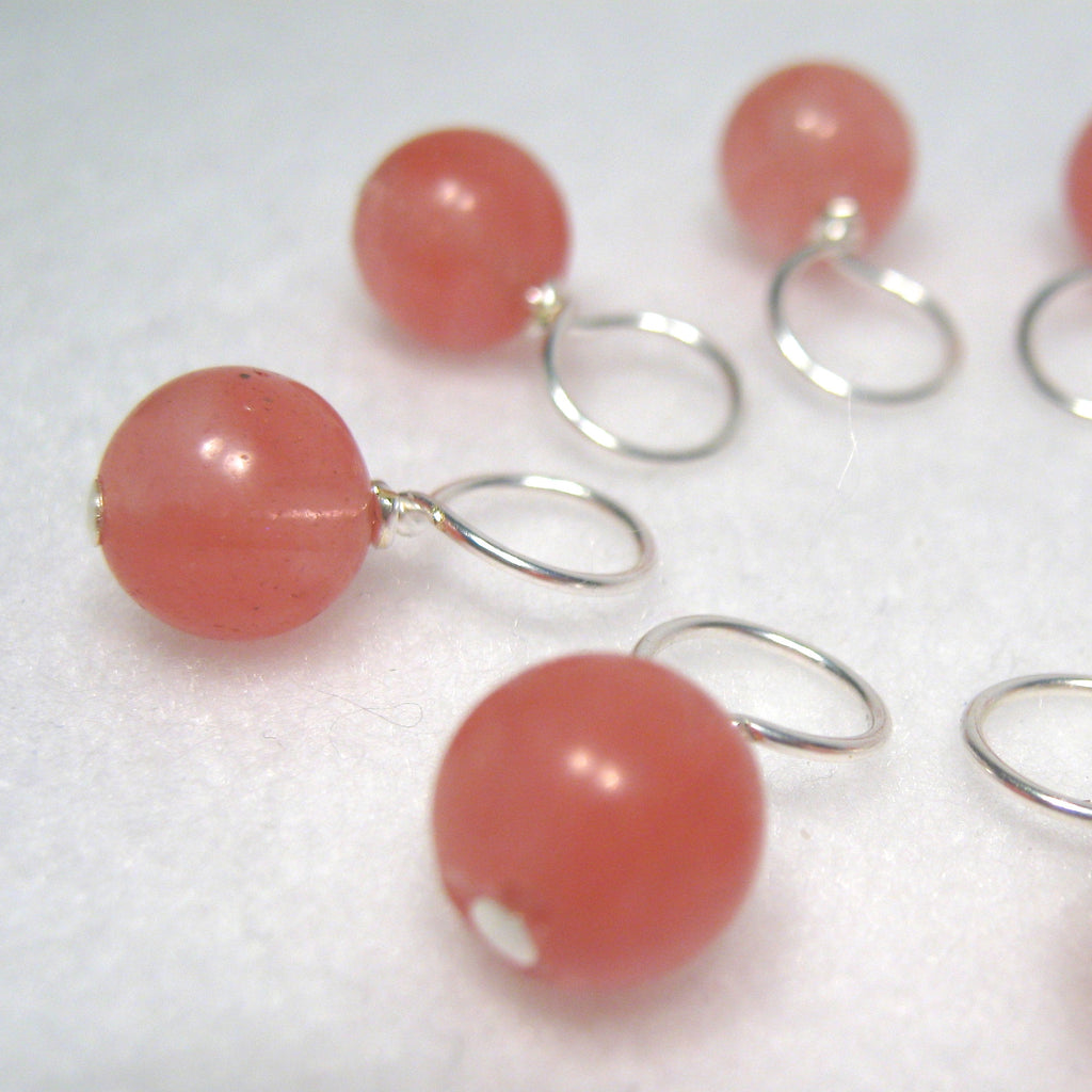Healing Gemstone Stitch Marker Drops - Cherry Quartz