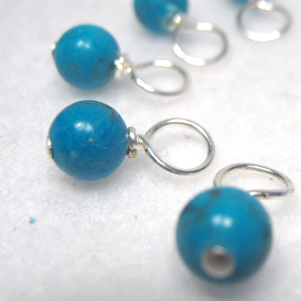 Healing Gemstone Droplet Stitch Markers - Blue Chalk Turquoise