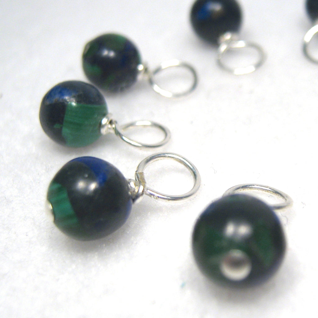 Healing Gemstone Droplet Stitch Markers - Azurite with Malachite