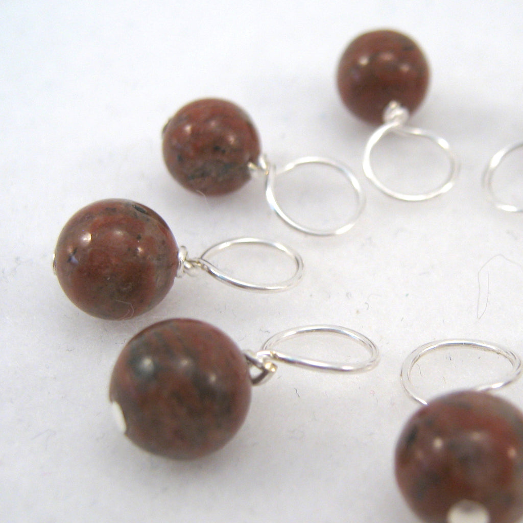 Healing Gemstone Stitch Marker Drops - Red Sesame Jasper