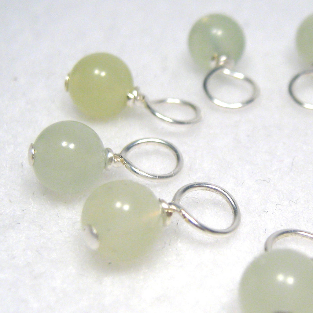 Healing Gemstone Droplet Stitch Markers - Sea Green New Jade