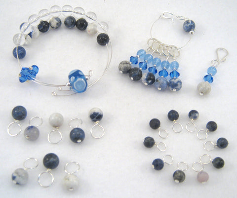 Complete Knitting Set - Healing Gemstone - Sodalite