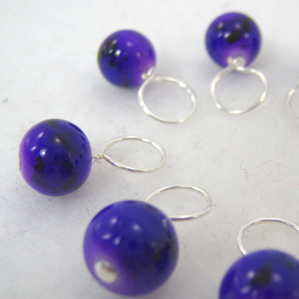 Plumeria Purple Stitch Marker Drops