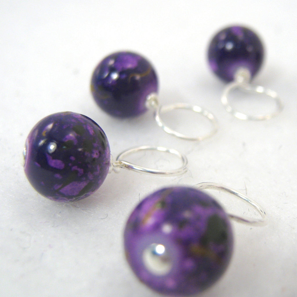 Purple Peacock Stitch Marker Drops