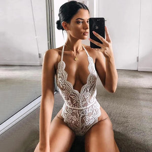 Backless lace bodysuit transparent deep V