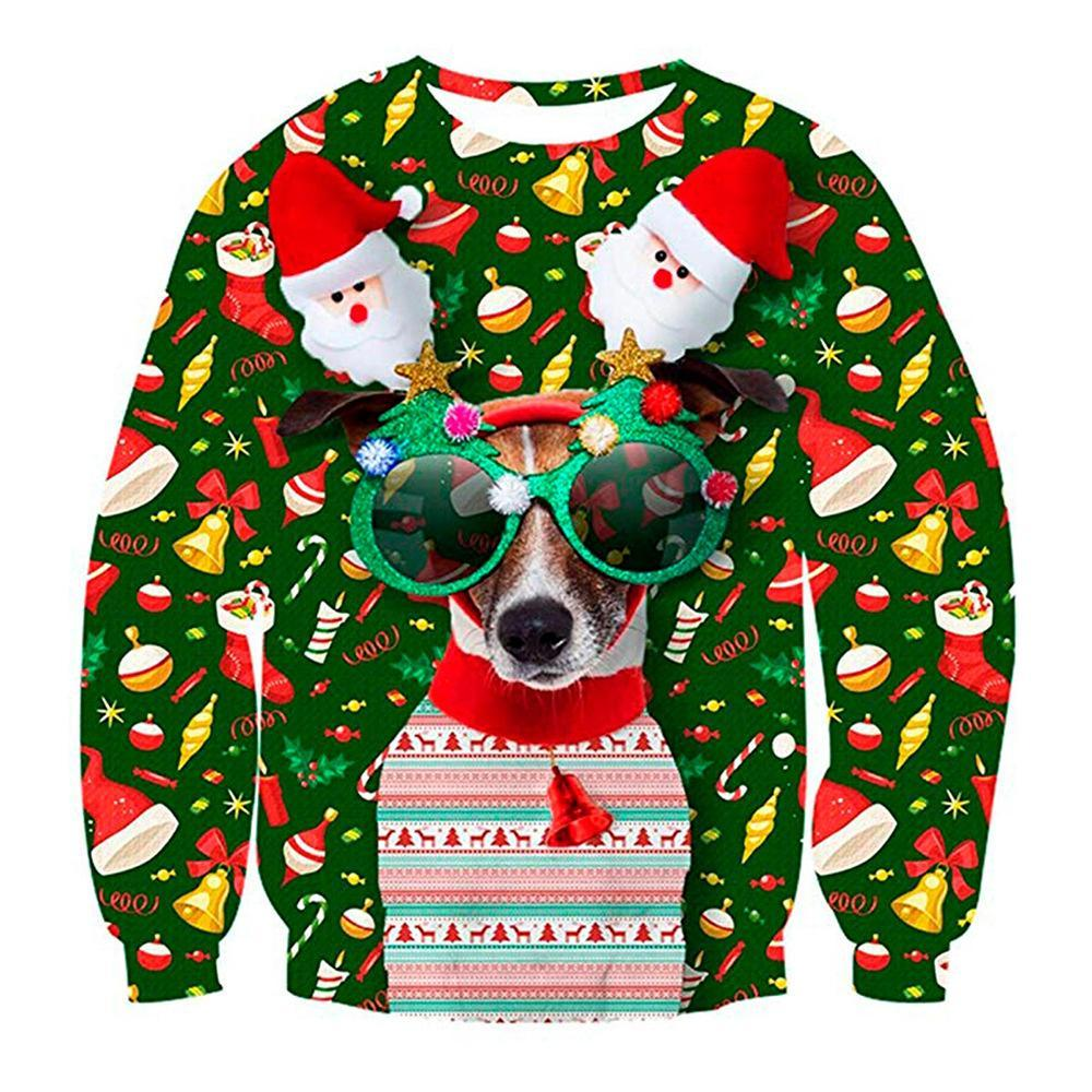 Sweatshirts Unisex 3D Print Dog Art Christmas