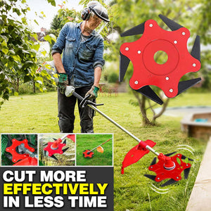 6 Steel Blades Razors 65Mn Lawn Mower Grass Trimmer Head