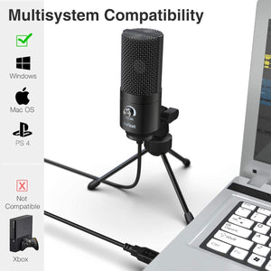 Metal USB Condenser Recording Microphone For Laptop