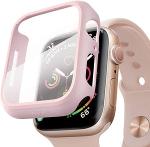 Hard Case Compatible with Apple Watch Series With Screen Protector, Ultra Thin HD Tempered Glass Screen Protective
