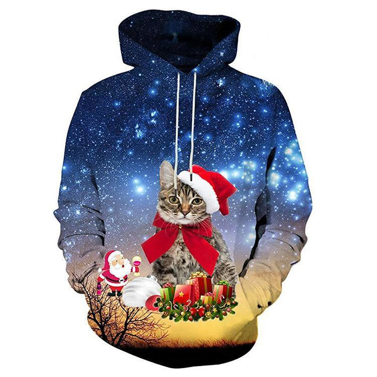 Unisex 3D Graphic Hoodies Sweatshirts Animals Cat Art Christmas 3
