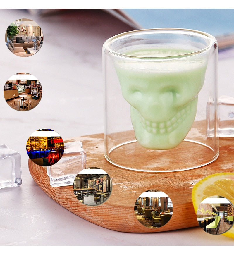 Double-Layered Transparent Crystal Skull Head Glass Cup