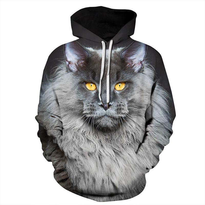 Hoodies Unisex 3D Print Cat Maine Coon Gray