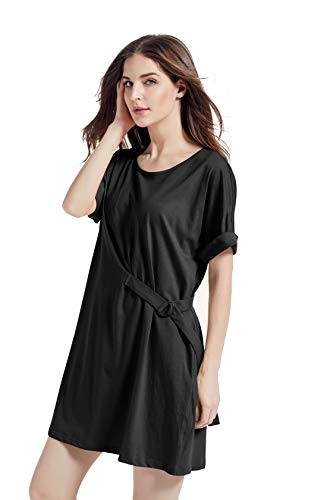 Kesujin Women's Summer Loose Fit Short Sleeve T-Shirt Dresses for Women Casual, Crew Neck Tshirt, Womens T Shirt Dress with Pockets (Black,L)
