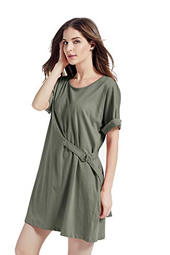 Kesujin Women's Summer Loose Fit Short Sleeve T-Shirt Dresses for Women Casual, Crew Neck Tshirt, Womens T Shirt Dress with Pockets (Green,M)
