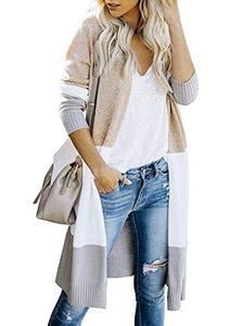 Myobe Womens Boho Open Front Cardigan Colorblock Long Sleeve Loose Knit Lightweight Sweaters ( Grey, XL)